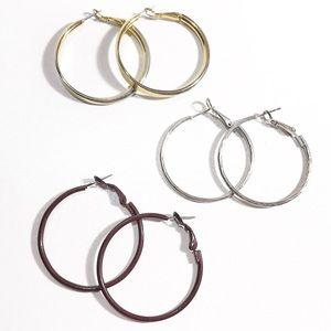Vintage Hoop Earrings Set of 3